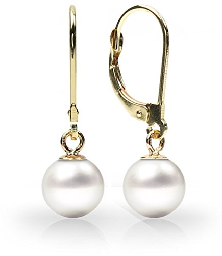 14K Gold Round White Freshwater High Luster Cultured Pearl Leverback (Dangling Pearl Stud)