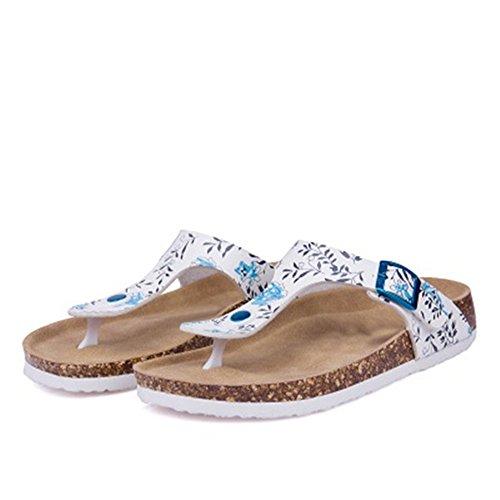 YaMiFan Women's Slide Sandal Thong Slip On Flip Flop Cork Thong Sandal Platform Flat Shoes 19 10