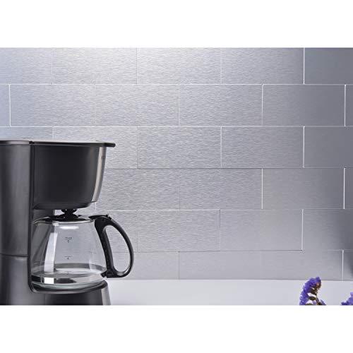 - LONGKING LK 40pcs Premium Self-Adhesive Metal Tiles - Peel and Stick Backsplash Tiles for Kitchen (LKB6621, 6