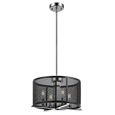 Globe Electric 4-Light Mesh Cage Chandelier, Matte Black Finish, Chrome Inner Accents, 4x E12 Candelabra Base 60W Bulbs, 65499