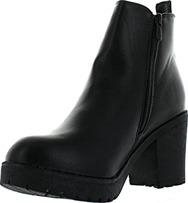 Refresh CLUB-01 Women's Slip On Chunky Heel Ankle