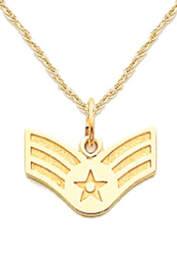 (US Jewels And Gems 14k Yellow Gold US Air Force Senior Airman Military Pendant 1.6mm Rope Chain Necklace)