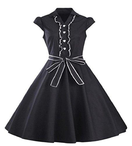 Dress Vintage Sleeve Women Black Party Cap Jaycargogo Swing 1950s Z7qnPB