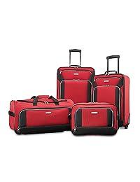 American Tourister Fieldbrook XLT 4pc Set (bb/Wh Dfl/ 21/25 Upright), Red/Black