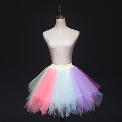 Danse Multicolore Adulte Fte Ballet Tutu Taille Lger Feoya Jupe Spectacle Multicolore Tulle pour Couches Jupe Jupe Courte 3 Multi Femme Fille lastique qtPvHwP