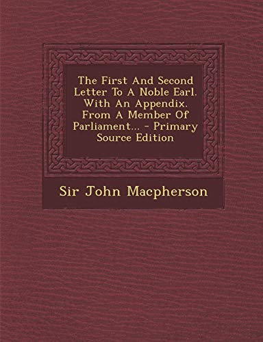 Used, The First and Second Letter to a Noble Earl. with an for sale  Delivered anywhere in Canada