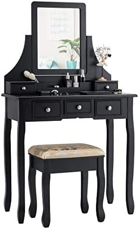 CHARMAID Makeup Vanity Set with Mirror and Cushioned Stool, Dressing Table with 5 Drawers and Removable Storage Organizers, Bedroom Makeup Table with Stool for Women Girls Black