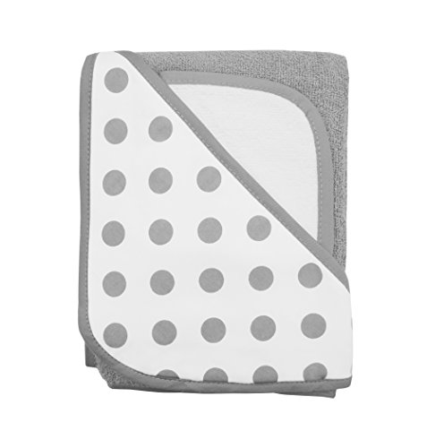 American Baby Company Cotton Terry Hooded Towel Set, Gray Dot, for Boys and Girls