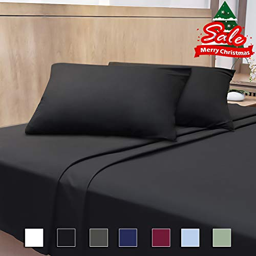 Cok 4 Piece Bed Sheet Set- Soft Microfiber Bedding Set with Deep Pocket, Breathable, Wrinkle and Fade Resistant – 1 Fitted Sheet, 1 Bed Sheet and 2 Pillowcases. (Black, King)