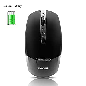 DEGOL 2.4G Wireless Mouse 95% Noiseless Built-in-Battery Rechargeable Mice with USB Receiver Ultra Thin