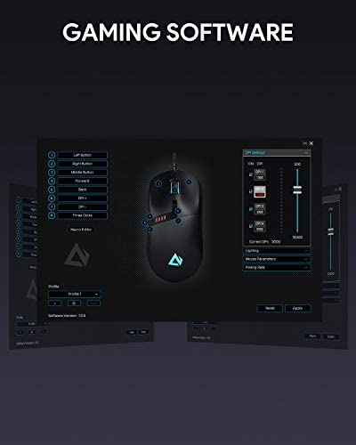 AUKEY Knight Gaming Mouse, RGB Wired Gaming Mouse with 10000 DPI, 8 Programmable Buttons, RGB Lighting Effects, Macros, Fire Button Gaming Mice for PC and Mac 41SwuUM9LWL