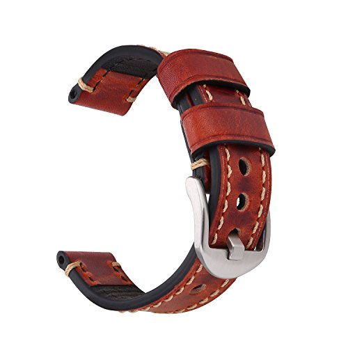 18mm Genuine Leather Strap - EACHE 18mm Vegetable Tanned Leather Genuine Leather Handmade Watchband (Red Brown-Silver Small Buckle)