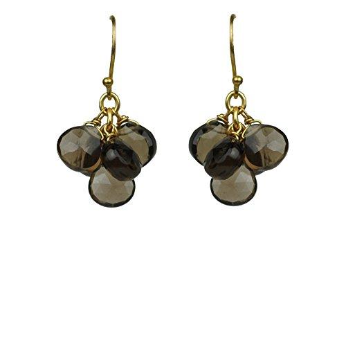 Smoky Topaz Cluster Vermeil (Smoky Vermeil Earrings)