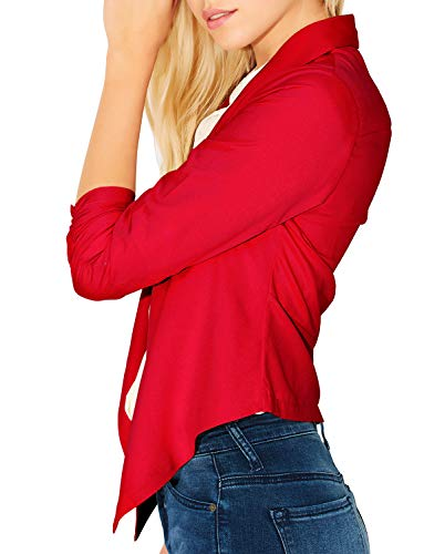 RubyK Womens Lightweight Open Front Draped Tuxedo Blazer Jacket Red Size - Ruby Red Blazer