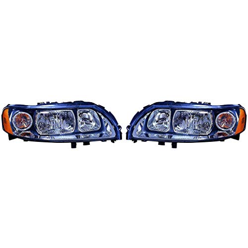 Fits Volvo S60 2005-2009 Headlight Assembly Halogen Pair Driver and Passenger Side (CAPA Certified) VO2502120, VO2503120