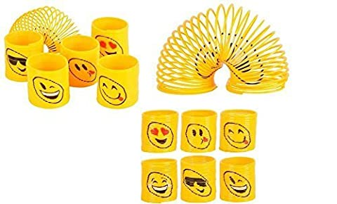 RIN (24) Assorted 35mm EMOJI Coil Springs (Slinkies) ~ Fun Party Favors ~ Easter Goody Bag ~ Party Gifts ~ Teacher Classroom ~ Stocking - Party Gift Bag