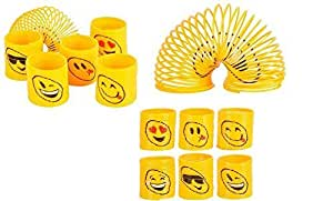 RIN (24) Assorted 35mm EMOJI Coil Springs (Slinkies) ~ Fun Party Favors ~ Easter Goody Bag ~ Party Gifts ~ Teacher Classroom ~ Stocking Stuffer