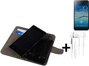 TOP SET: Funda para el Jiayu S3 Basic + auriculares, Walletcase hecho de cuero sintético en negro, monocromático y simple. Bolsillo para el teléfono móvil con ranuras para tarjetas de crédito y la función del soporte. BookStyle bisagras de la manga para los teléfonos inteligentes. A prueba de golpes del caso, la piel suave cubierta del teléfono móvil funda protectora. Protección integral robusta premium Case Flipstyle | envío de Alemania en un día laborable