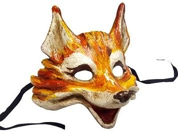 Máscara veneciana de zorro, hecha a mano, color auténtico, estilo realista