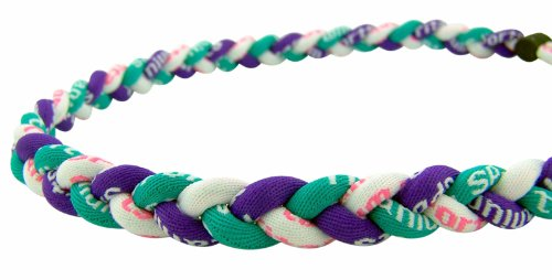 - NEW 22 Inch Aqua Purple White (with Pink Lettering) Tornado Titanium Fiber Baseball 3 Rope Braided Sports Energy Necklace