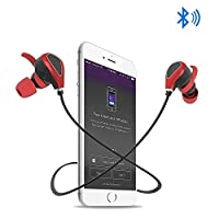 Yuwiss Bluetooth Headphones Wireless Magnetic In Ear Earbuds Sport Sweatproof Earphones with Built in Mic for iPhone 7 Plus, Running, Workout (Romantic Red)