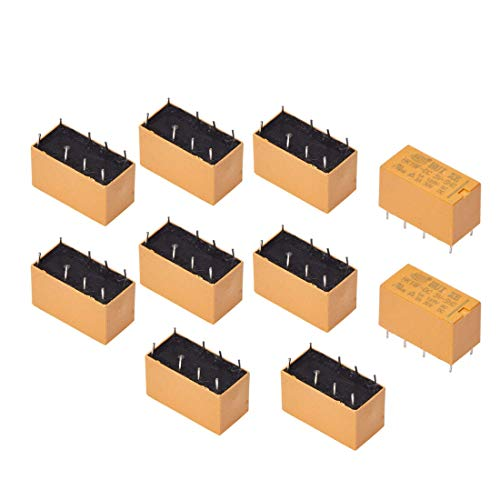 Aodesy 10Pcs PCB Power Relay Coil DPDT 8Pins HK19F Relay DC 5V General Purpose Realplay Power Relay Yellow