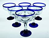 Mexican Glass Margarita Blue Rim, Hand Blown, set of 6