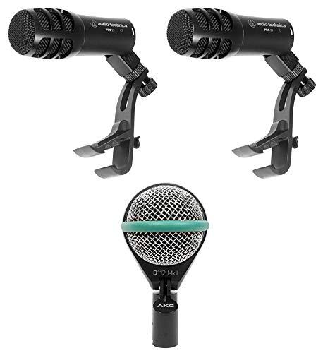 AKG D112 MKII Kick Drum Bass Guitar Microphone+(2) Audio Technica Tom Mics