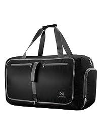 OMorc Duffel Bag Gym Bag, Gran Capacidad 60L,Bolsa Plegables, Resistente al Agua con Correa de Hombro Extraíble para Las Mujeres y los Hombres 【Versión Mejorada】- Gris