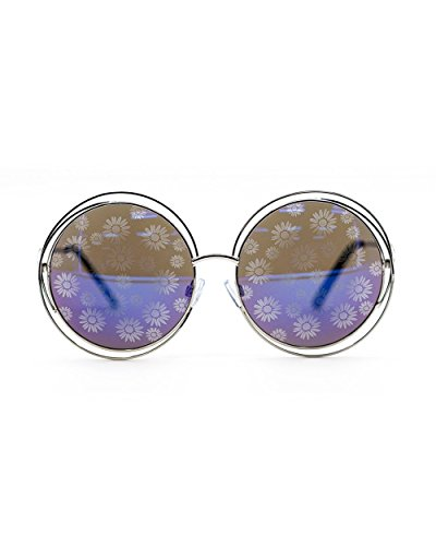 iHeartRaves Oversize Round Electric Vision Daisy Lens Sunglasses (Blue)
