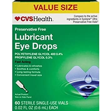 Amazon com: CVS Health Fast Acting Lubricant Eye Drops Sterile