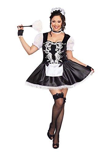 Dreamgirl Women's Plus-Size French Kisses Costume, Black/White, 1X/2X ()
