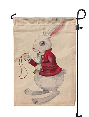 - GROOTEY Welcome Outdoor Garden Flag Yard Decorative 12X18 Rabbit from Alice in Wonderland Watercolor Drawing Clock Beautiful Texture Paper Easter Bunny Double Sided Seasonal Garden Flags,Gray Blue