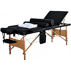 "New 84""L 3 Fold Massage Table Portable Facial Bed W/Sheet Bolsters Carry Case 3"
