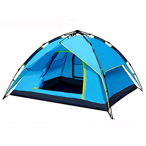XBR Beach Tent Pop Up, Portable Lightweight Automatic Two-Layer Outdoor Waterproof Anti UV with Zipper Door Camping Beach Fishing Garden Automatic Instant Family Cabana, Blue