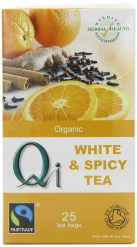 Qi Organic White and Spicy 25 Teabags (Pack of 6, Total 150 Teabags)
