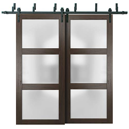 Sliding Closet Frosted Glass Barn Bypass Doors 48 x 96 inches | Lucia 2552 Chocolate Ash | Sturdy Top Mount 6.6ft Rails…