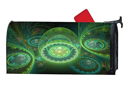 Tollyee Abstract Artistic Circle Green Pattern Magnetic Mailbox Cover Garden Magnetic Magnetic Mailbox Cover 6.5