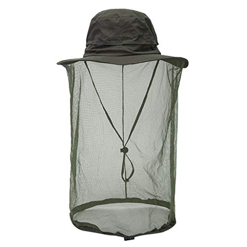 Mosquito Head Net Hat,Crytech Safari Hat Sun Hat Bucket Hat Bonnie Cap with Detachable Hidden Net Mesh Protection from Insect Bug Bee Mosquito Gnats for Outdoor Lover Men and Women (Army Green)