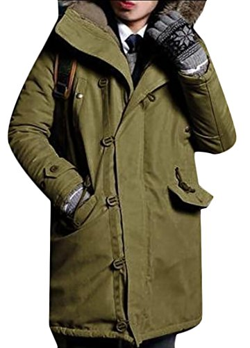 Jackets Collar Green Winter Fur Men's Generic Puffer Warm Army Down w60qwvI