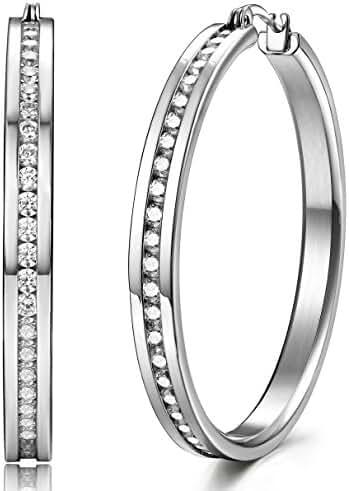 ORAZIO Stainless Steel Womens Hoop Earrings Cubic Zirconia Earrings Huggie Earrings,30-50mm