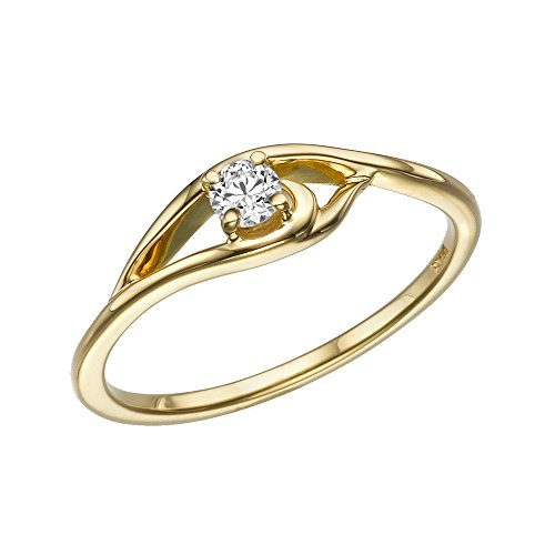 1/10 cttw Certified Diamond Engagement Ring in 14K Yellow Gold (1/10 cttw, L-M Color, I1-I2 Clarity) - Size 6.5