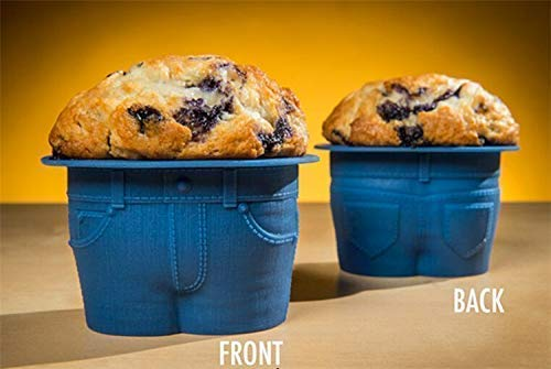 Mr MUFFIN TOPS Denim-Style Baking Cups for Keto, Funny Gag Gifts, Hilarious Novelty White Elephant Gift Exchange, Dirty Santa Office Pranks! Set of 4 - Muffin Mr Top