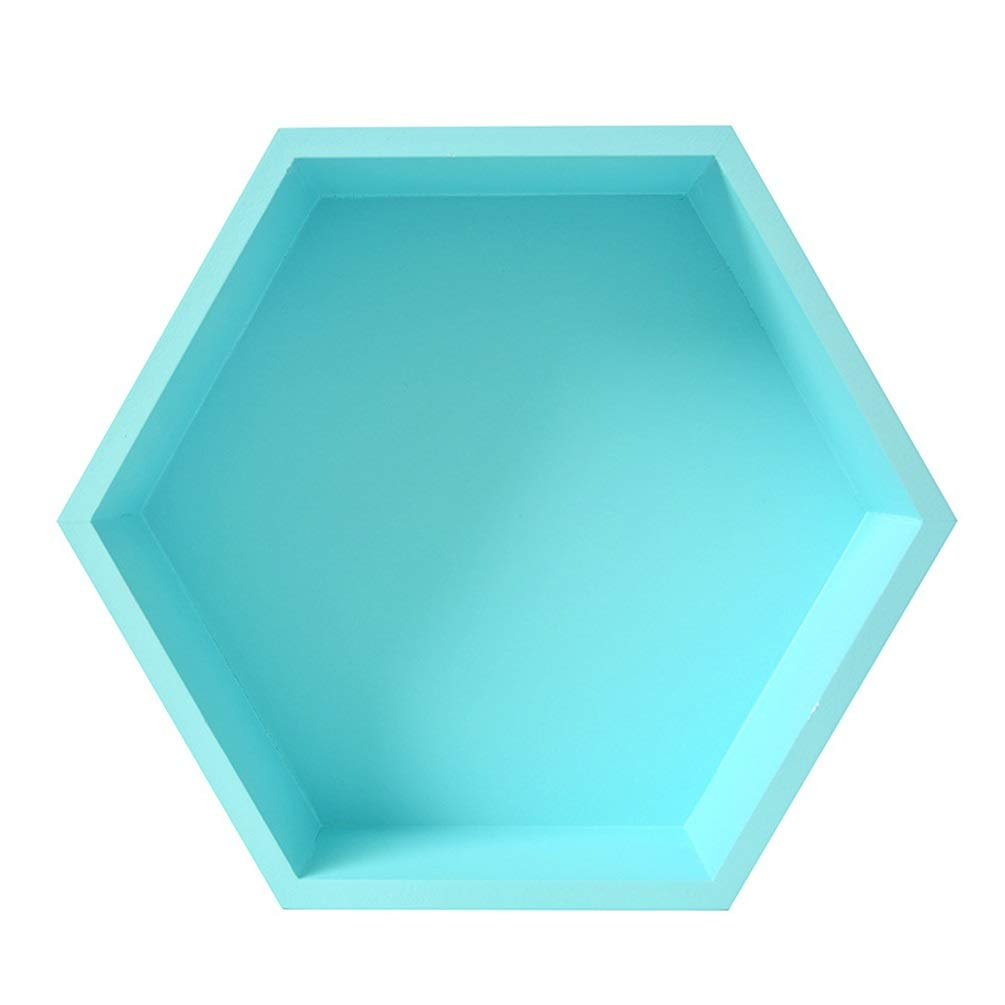 XYQS Nordic Style Home Wall Simple Creative Solid Wood Hexagonal Rack for Living Room Clothing Store Cafe Wall Decoration (Color : Sky Blue) by XYQS