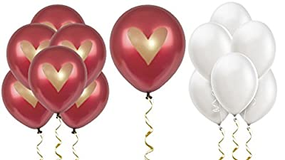 "Burgundy Balloons Party Decorations Supplies Wine Red Gold Ink Heart Love 12"" Latex Wedding Decoration Kit Proposal Valentine's Bridal Shower Bachelorette Celebration Anniversary Dark Maroon"