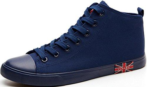 Satuki Canvas Schoenen Voor Heren, Casual Hoge Top Klassieke Veturige Zachte Atletische Lichtgewicht Sportmode Sneakers Blauw