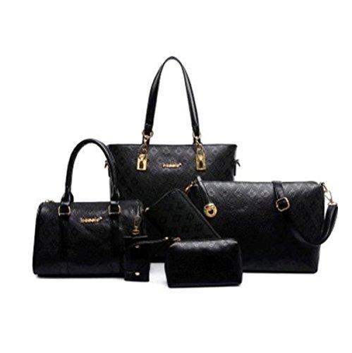 Casual Women's Pieces F Bags Office Cowhide Purse Bag Set 6 For Bag Set Women's STzw6