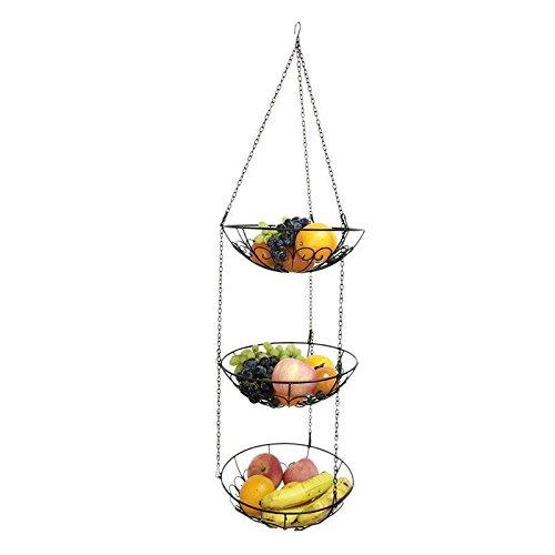 OKOKMALL US--3 Tier Basket Fruit Vegetable Holder Bowl Round Hanging Storage Kitchen Organize