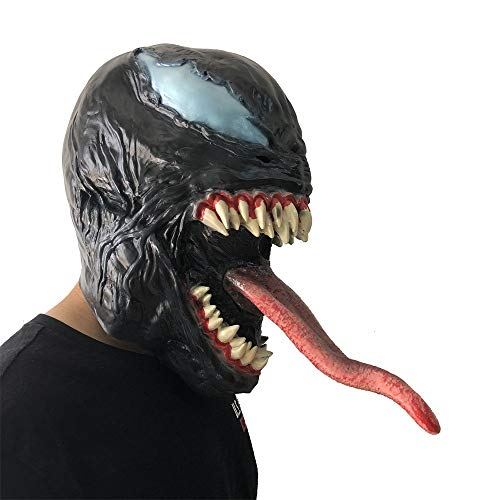 Likero Cosplay Venom Venom Mask Melting Face Latex Costume Halloween Scary Mask Toy Spoof Mask Tricky Game Toy
