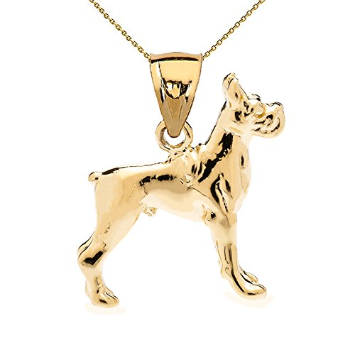 Solid 14k Yellow Gold Boxer Charm Pendant Necklace with 22